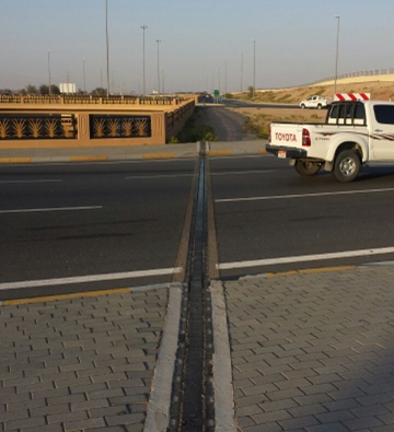 Transflex bridge expansion joints installed at an elevated section of roadway.